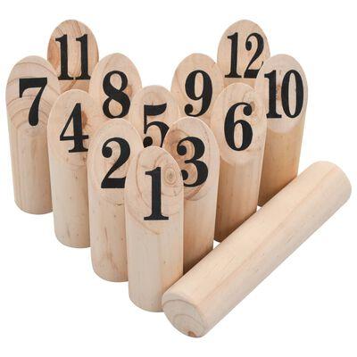 vidaXL Juego de números Kubb madera