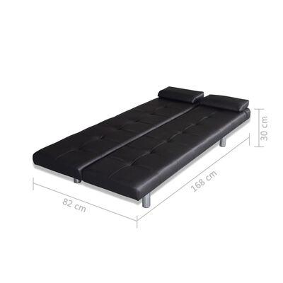 vidaXL Sofá cama con dos almohadas ajustable cuero artificial negro