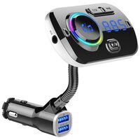 Transmisor FM inalámbrico para coche, LED 7 colores, QC3.0
