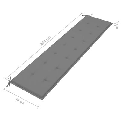 vidaXL Cojín de banco de jardín gris 200x50x4 cm