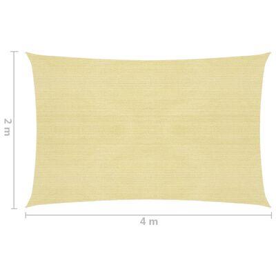 vidaXL Toldo de vela rectangular HDPE 2x4m beige
