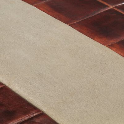 vidaXL Banco de 2 plazas cuero de cabra marrón oscuro y gris