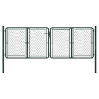 vidaXL Puerta de jardín de acero verde 300x100 cm