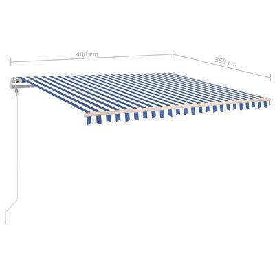 vidaXL Toldo automático LED y sensor de viento azul blanco 400x350 cm