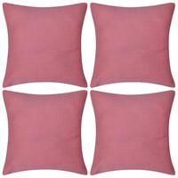 4 fundas rosas para cojines de algodón, 40 x 40 cm