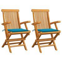 vidaXL Sillas de jardín 2 unidades con cojines azules madera de teca