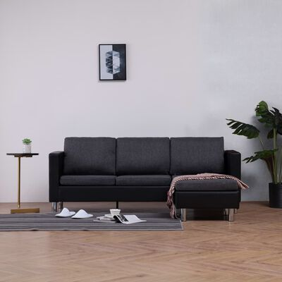 vidaXL Sofá de 3 plazas con cojines piel sintética negro