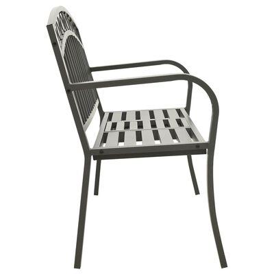 vidaXL Banco de jardín con mesa acero gris 125 cm