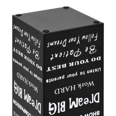 vidaXL Paragúero diseño texto acero negro