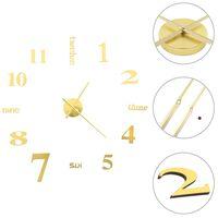 vidaXL Reloj 3D de pared con diseño moderno 100 cm XXL dorado