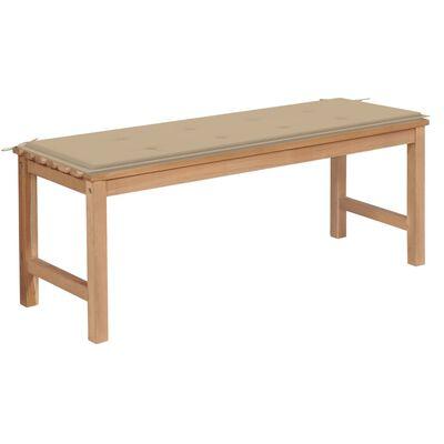 vidaXL Banco de jardín madera maciza de teca con cojín beige 120 cm