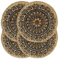 vidaXL Mantel individual 4 unidades redondo yute azul oscuro 38 cm