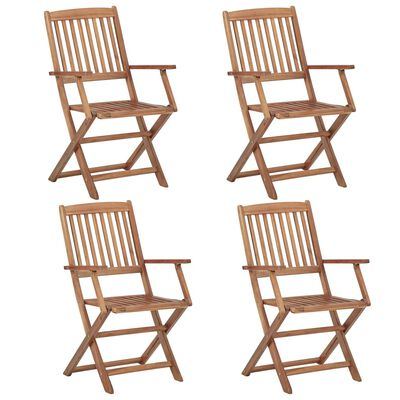 vidaXL Sillas de jardín plegables 4 unidades madera maciza de acacia