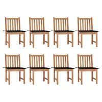 vidaXL Sillas de jardín 8 unidades madera de teca con cojines
