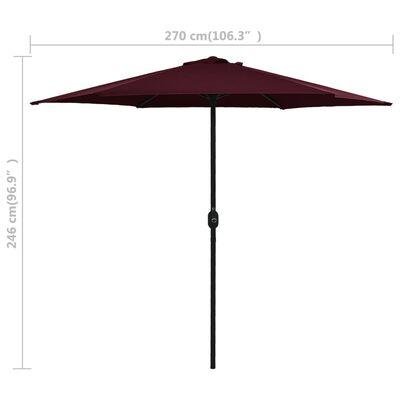 vidaXL Sombrilla de jardín con palo de aluminio rojo burdeos 270x246cm