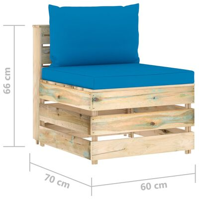 vidaXL Muebles de jardín 4 piezas con cojines madera impregnada verde