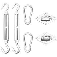 vidaXL Kit de montaje para toldo de vela 6 piezas acero inoxidable