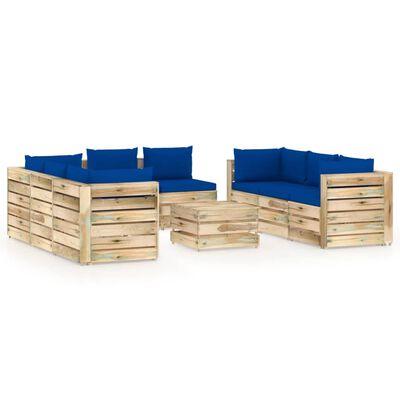 vidaXL Muebles de jardín 9 piezas con cojines madera impregnada verde