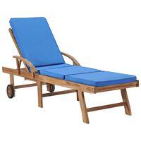 vidaXL Tumbona con cojín madera maciza de teca azul