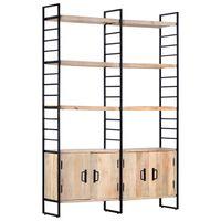 vidaXL Estantería de 4 niveles madera maciza de mango 124x30x180 cm