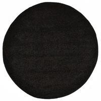vidaXL Alfombra de pelo negro 67 cm