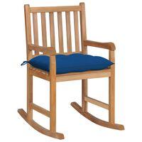 vidaXL Silla mecedora de madera maciza de teca con cojín azul