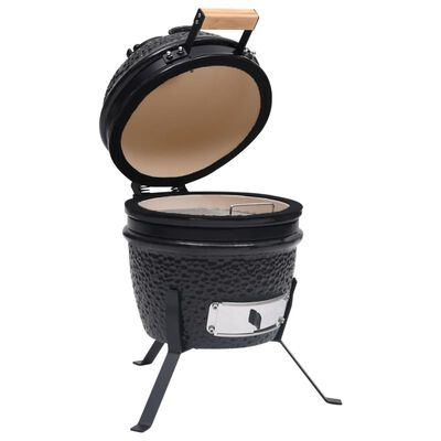 vidaXL Barbacoa 2 en 1 ahumadora Kamado de cerámica negro 56 cm
