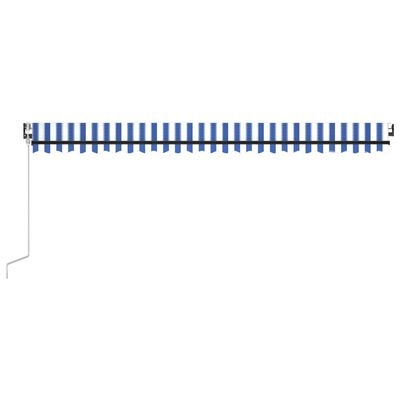 vidaXL Toldo automático LED sensor de viento azul y blanco 500x300 cm