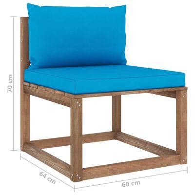 vidaXL Muebles de palets jardín 3 pzas cojines madera pino impregnado