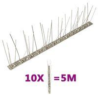 vidaXL Set de 5 hileras de pinchos contra pájaros y palomas 10 uds 5m