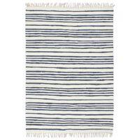 vidaXL Alfombra tejida a mano Chindi de algodón 80x160cm azul y blanco