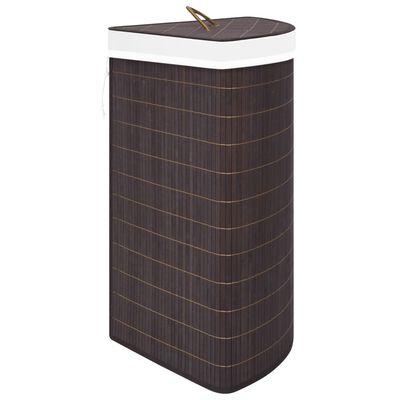 vidaXL Cesto de ropa sucia de esquina bambú marrón 60 L