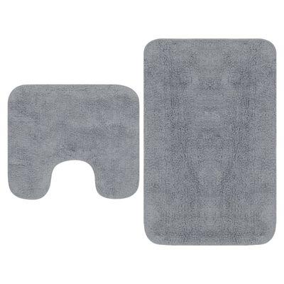 vidaXL Conjunto de alfombras de baño de tela 2 piezas gris