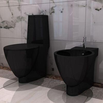 Inodoro y bidet negros de cerámica