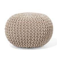 Puf redondo, Reposapiés en algodón, Beige, 40x25 cm, CONRAD