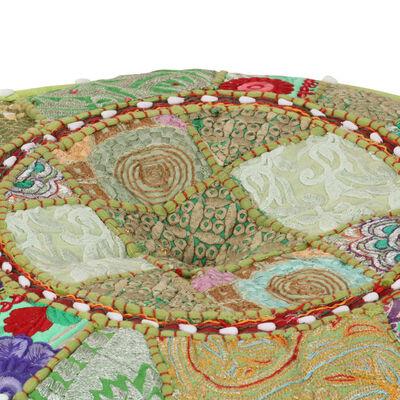 vidaXL Puf redondo de pachtwork algodón hecho a mano 40x20 cm verde