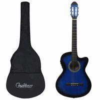 vidaXL Set de guitarra occidental 12 pzas ecualizador y 6 cuerdas azul
