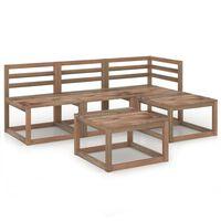 vidaXL Set de muebles de jardín 5 pzas madera pino impregnado marrón