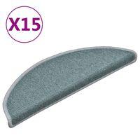 vidaXL Alfombras de peldaños de escalera 15 uds azul 56x17x3 cm