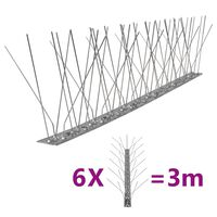 vidaXL Set de 6 hileras pinchos contra pájaros y palomas 5 filas 3 m