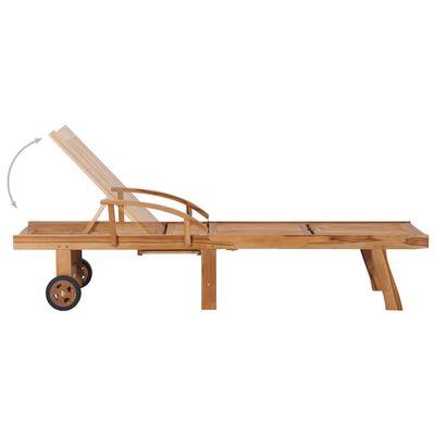 vidaXL Tumbona de madera maciza de teca con cojín rojo
