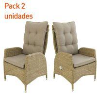 Pack 2 sillones|63x67x120cm|Aluminio+ratán sintético|Cojín marrón