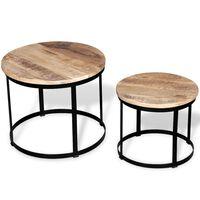 vidaXL Set de mesa de centro redondas 2 uds madera de mango 40/50 cm