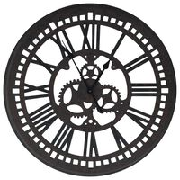vidaXL Reloj de pared de MDF negro 70 cm