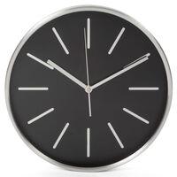 Perel Reloj de pared negro y plateado 30 cm
