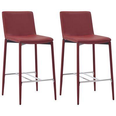 vidaXL Set de mesa alta y taburetes 3 pzas cuero sintético color vino