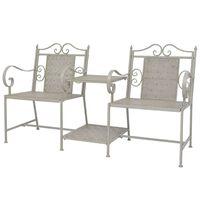 vidaXL Banco de 2 asientos 161 cm acero gris