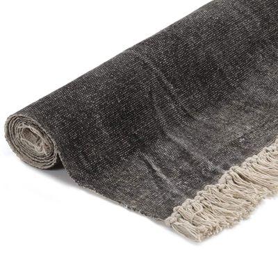 vidaXL Alfombra de algodón Kilim 160x230 cm gris antracita