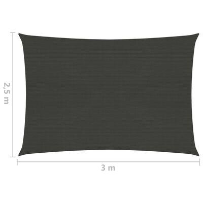 vidaXL Toldo de vela gris antracita HDPE 160 g/m² 2,5x3 m
