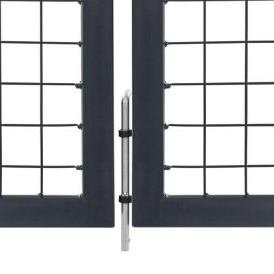 vidaXL Puerta de valla de jardín con postes acero antracita 350x100 cm